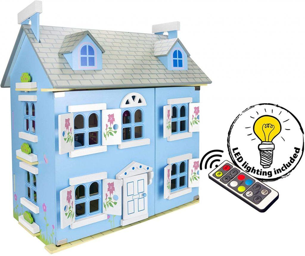La maison de poupées Belle Alpine en bois possède des lumières LED qui s'éclairent.