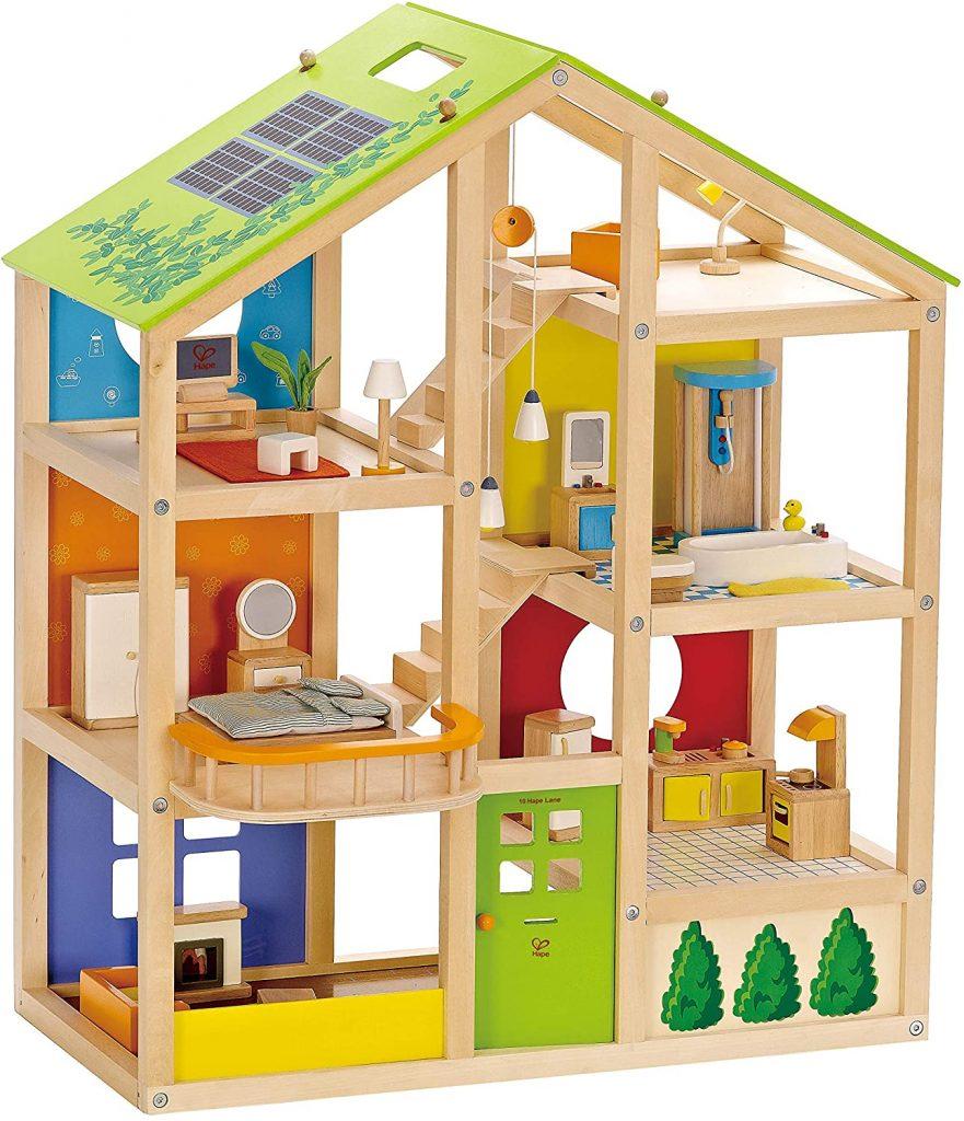 La maison de poupées en bois Hape convient aussi bien pour une petite fille qu'un petit garçon.
