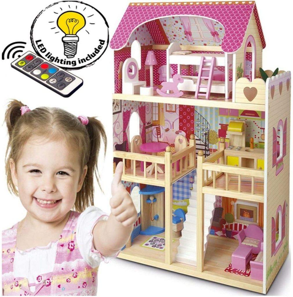 La maison de poupées en bois Leomark possède des lumières LED.