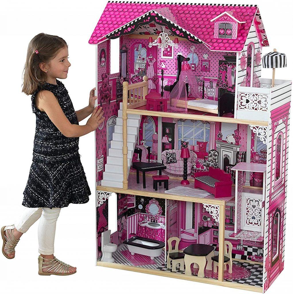 La maison de poupées en bois Kidkraft Amelia est de couleur rose et noir.