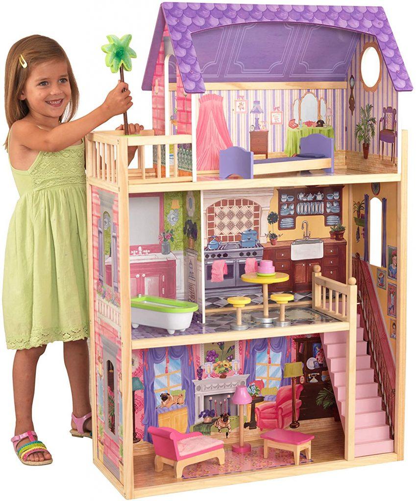 La maison de poupées Kidkraft Kayla dispose de 3 étages pour jouer.