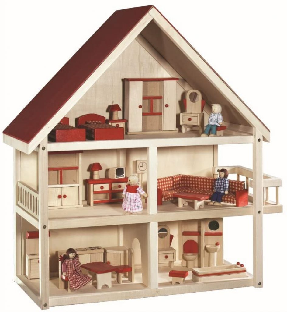 La maison de poupées en bois Roba se compose de 5 pièces.