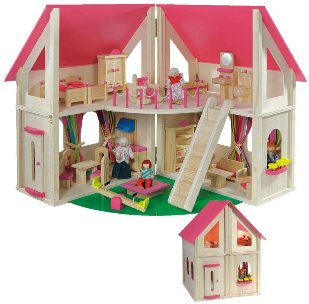 La maison de poupées en bois Howa est livrée avec 21 accessoires et 4 poupées.
