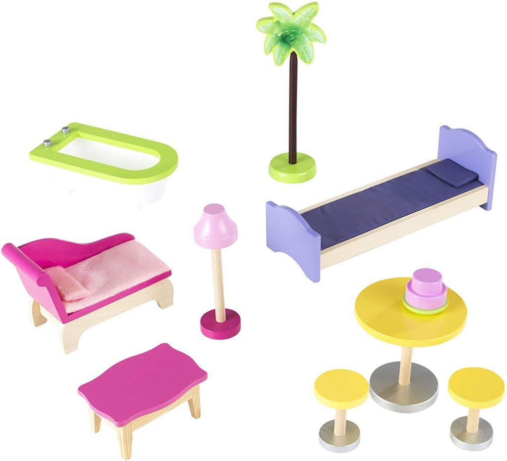 La maison de poupées en bois Kidkraft Kayla est livrée avec 10 accessoires.