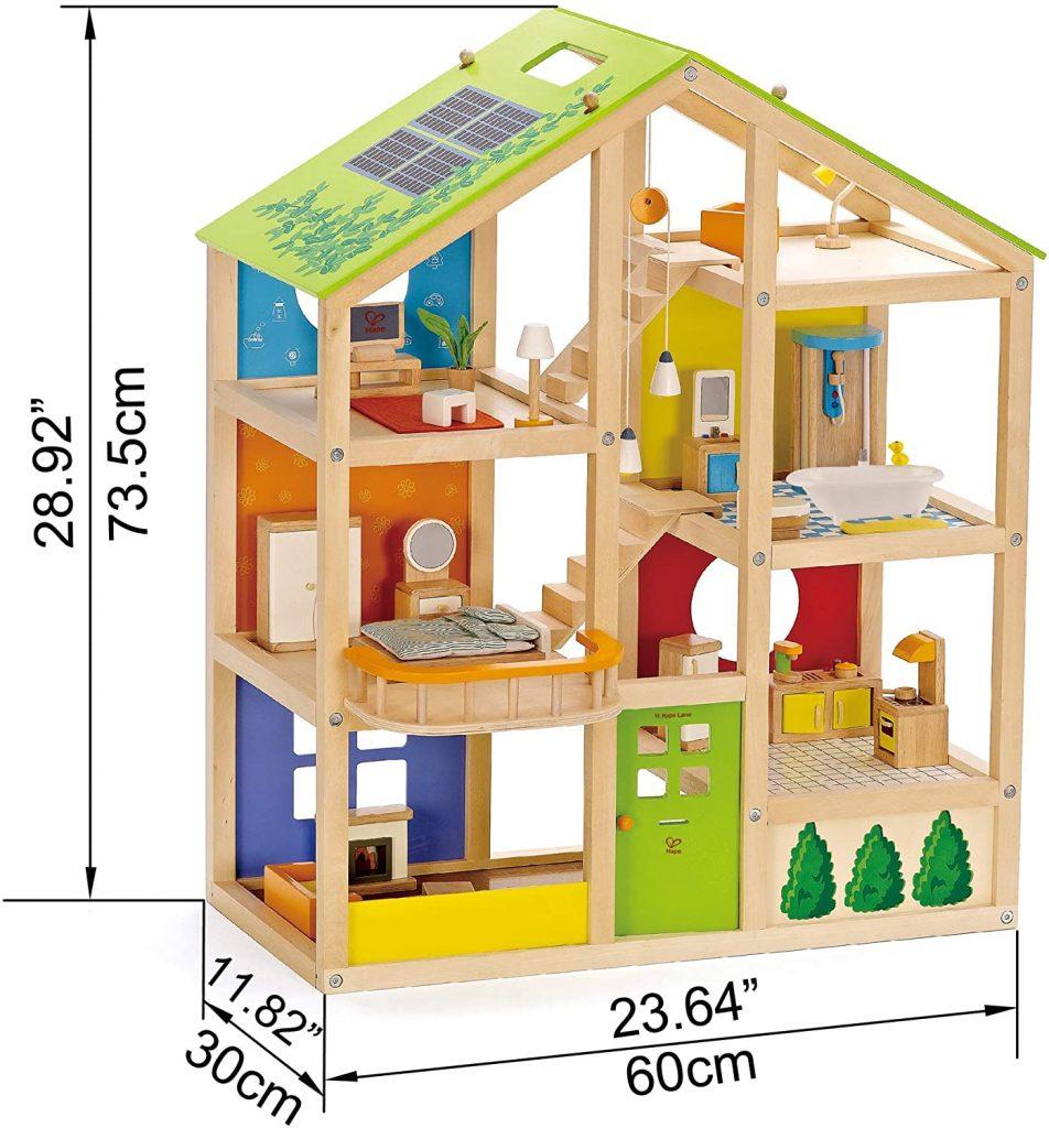 La maison Hape Toute saison mesure 73,5 cm de haut.