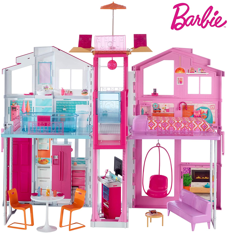 Cette maison de Barbie de luxe dispose de 2 niveaux de jeu.