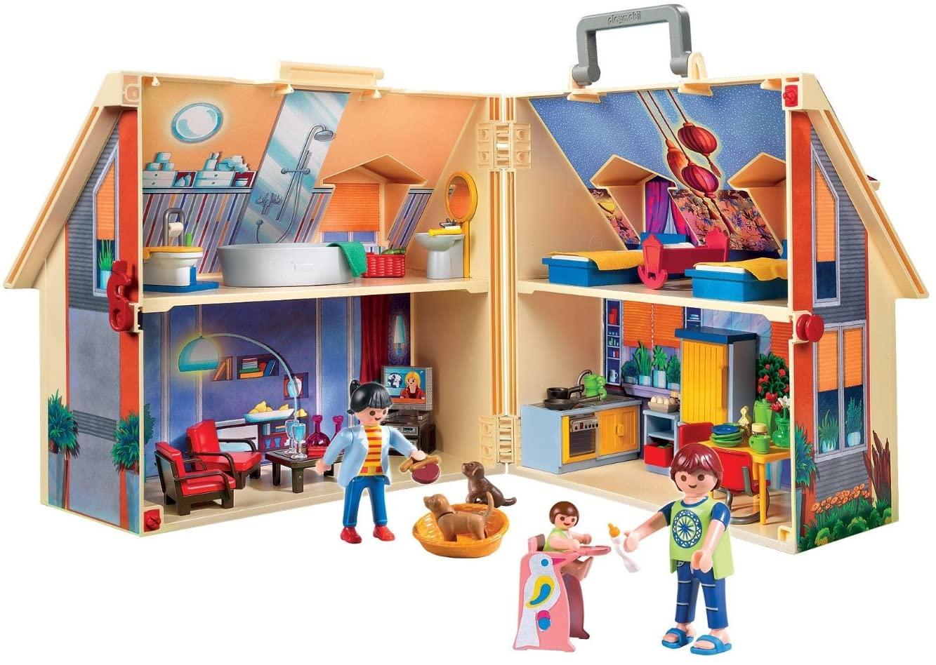 La maison transportable Playmobil 5167 possède une poignée pour suivre votre enfant partout où il va.