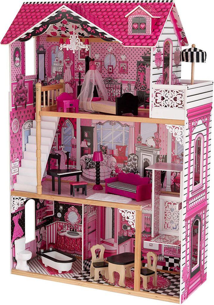 La maison de poupée Amelia a une chambre avec un baclon.