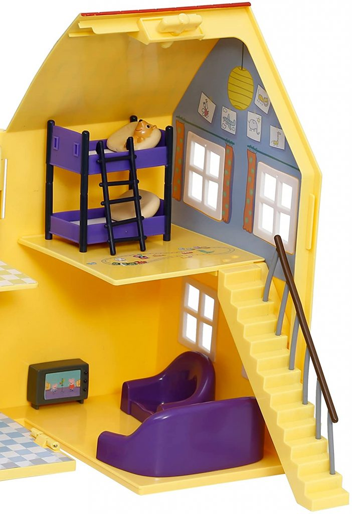 La maison de Peppa Pig inclut un salon et une chambre.